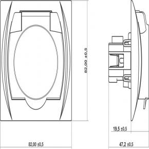 9LGPB-1z Gniazdo łazienkowe z klapką i uziemieniem brązowe LOGO KARLIK