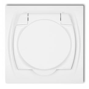 LGPB-1z Białe gniazdo z klapką do łazienki 2P+Z LOGO KARLIK