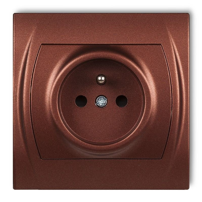 9LGP-1z Gniazdo pojedyncze z uziemieniem brązowy metalik LOGO KARLIK