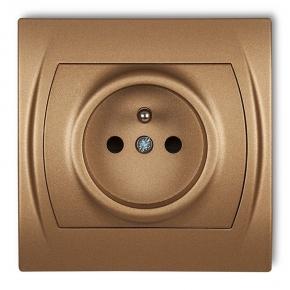 8LGP-1z Kontakt elektryczny z uziemieniem złoty metalik LOGO KARLIK