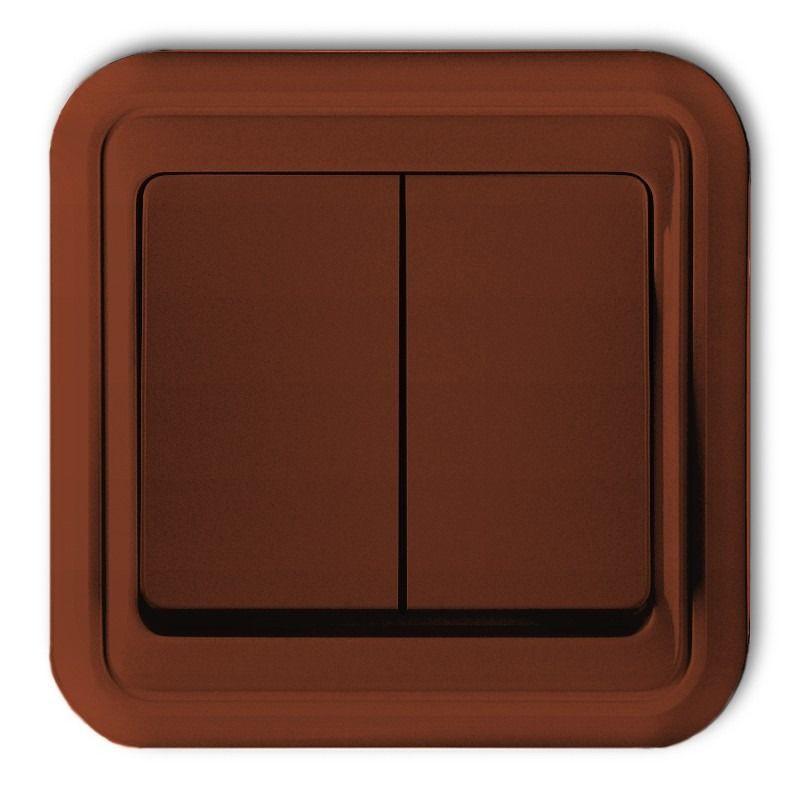 4WPT-2 Wyłącznik podwójny świecznikowy brązowy LIZA KARLIK