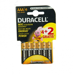 Baterie alkaliczne AAA 6x1,5V 4+2 LR03 DURACELL