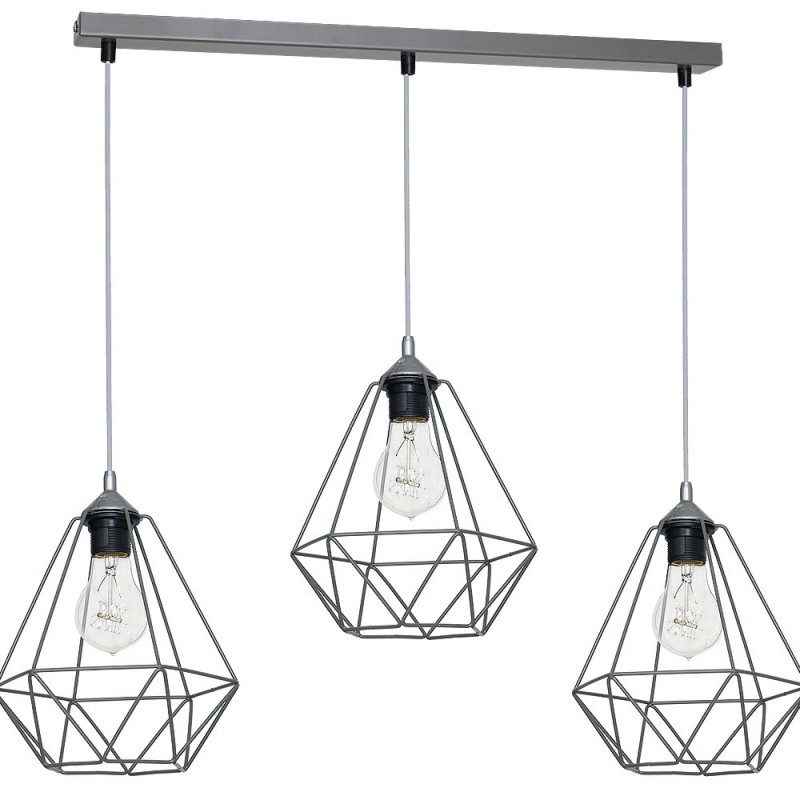 Lampy-sufitowe - lampa wisząca loftowa w kolorze szarym 3xe27 basket mlp7217 eko-light firmy EKO-LIGHT