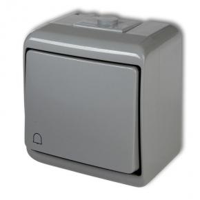 10WHE-4 Szary przycisk dzwonkowy hermetyczny natynkowy JUNIOR KARLIK