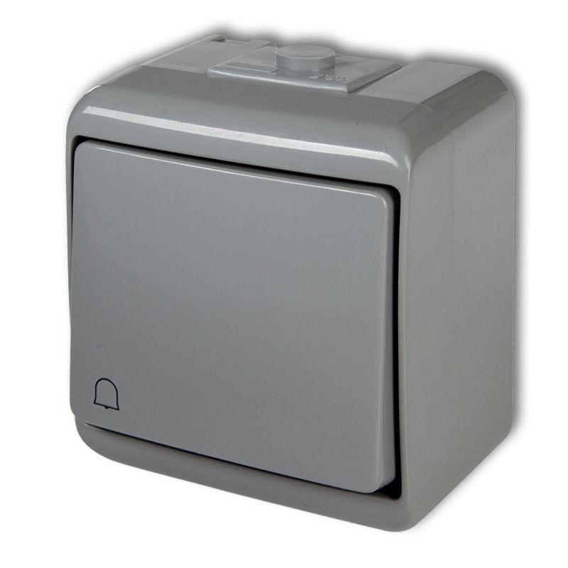 Wlaczniki-i-przyciski-dzwonkowe - 10whe-4 szary przycisk dzwonkowy hermetyczny natynkowy junior karlik firmy Karlik