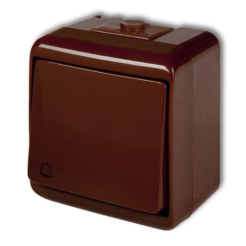 Brązowy przycisk dzwonkowy natynkowy zwierny 4WHE-4 JUNIOR KARLIK