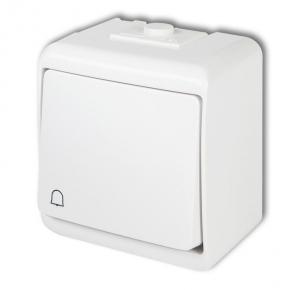 Biały przycisk dzwonkowy natynkowy zwierny WHE-4 JUNIOR KARLIK