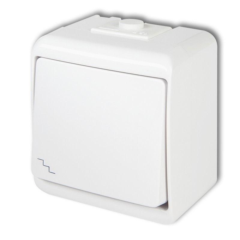WHE-3L Wyłącznik schodowy podświetlany biały natynkowy JUNIOR KARLIK
