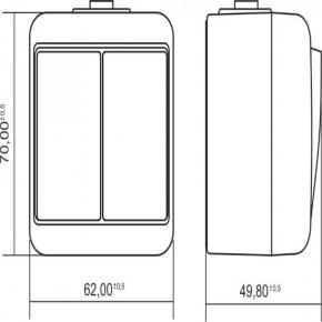 WHE-2L Włącznik podwójny do żyrandoli podświetlany biały IP54 natynkowy Junior Karlik
