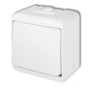 WHE-1L Włącznik jednobiegunowy podświetlany biały IP54 natynkowy Junior KARLIK