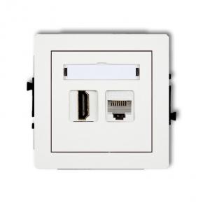 Białe gniazdo HDMI z gniazdem komputerowym 1xRJ45 DGHK DECO KARLIK