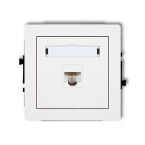 Białe gniazdo komputerowe pojedyncze 1xRJ45 kat. 5e DGK-1 DECO KARLIK