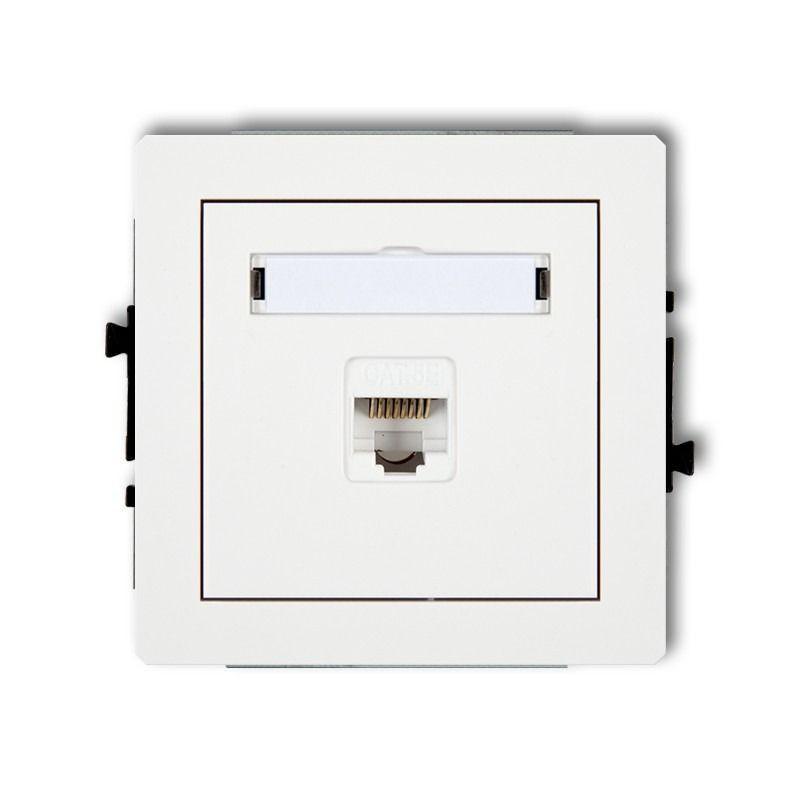 Gniazda-komputerowe - białe gniazdo komputerowe pojedyncze 1xrj45 kat. 5e dgk-1 deco karlik firmy Karlik