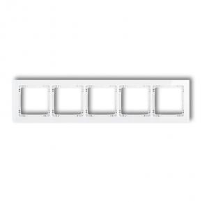 Ramka pięciokrotna na włączniki efekt szkła biała  0-0-DRS-5 DECO KARLIK