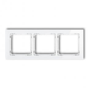 Ramka na 3 włączniki biała z efektem szkła 0-0-DRS-3 DECO KARLIK