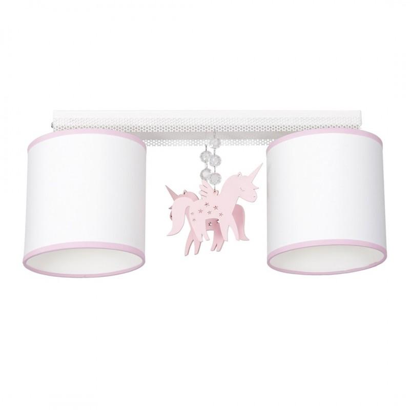 Oswietlenie-do-pokoju-dzieciecego - podwójna lampa sufitowa z różowym jednorożcem 2xe27 uni mlp6491 eko-light firmy EKO-LIGHT