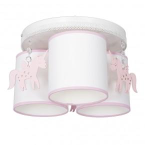 Oswietlenie-do-pokoju-dzieciecego - żyrandol sufitowy z trzema kloszami do pokoju dziecka biały/różowy uni mlp6493 eko-light