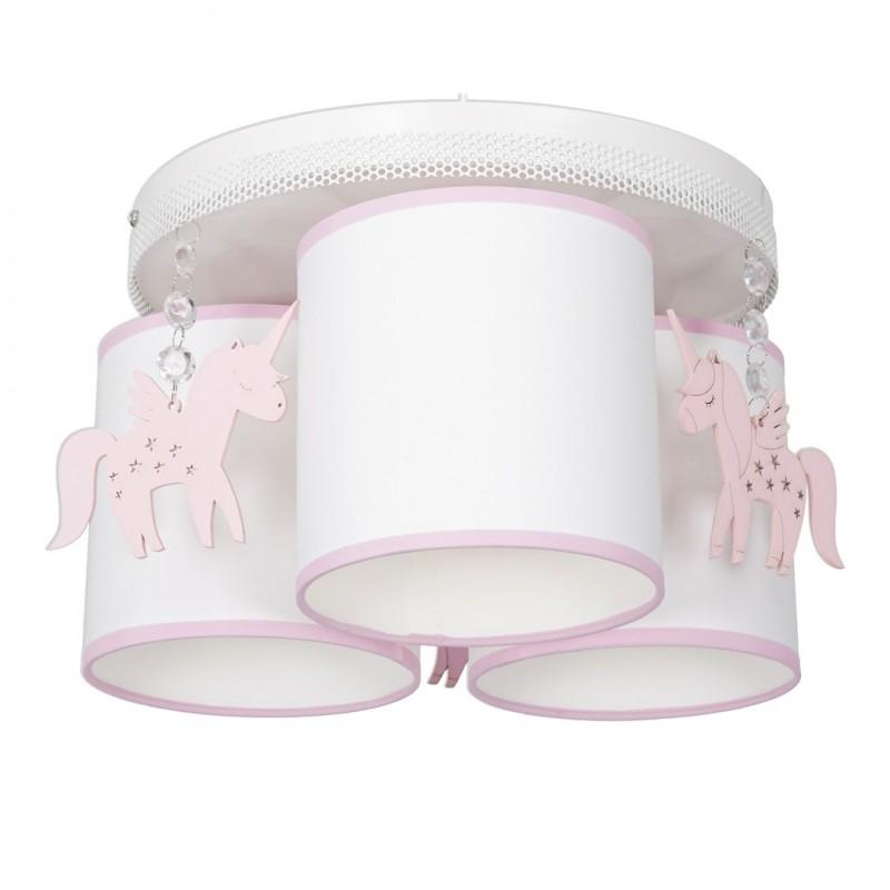 Oswietlenie-do-pokoju-dzieciecego - żyrandol sufitowy z trzema kloszami do pokoju dziecka biały/różowy uni mlp6493 eko-light firmy EKO-LIGHT