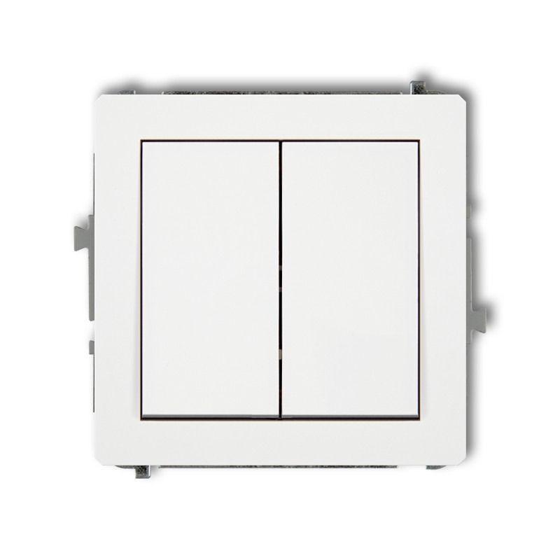 DWP-2 Włącznik światła podwójny Mechanizm włącznika świecznikowego biały p/t DECO KARLIK