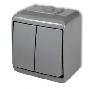10WHE-2 Włącznik świecznikowy włącznik/wyłącznik popielaty IP54 natynkowy Junior KARLIK