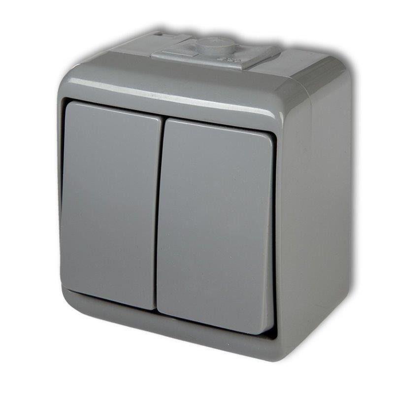 Wylaczniki-podwojne - 10whe-2 włącznik świecznikowy włącznik/wyłącznik popielaty ip54 natynkowy junior karlik firmy Karlik