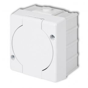 GHS-1 Kontakt z klapką Gniazdo pojedyncze 2P+Z (klapka biała) IP44 natynkowy Senior Karlik