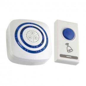Dzwonki-do-drzwi-bezprzewodowe - dzwonek bezprzewodowy z regulacją głośności biało-niebieski nutka 03893 ideus