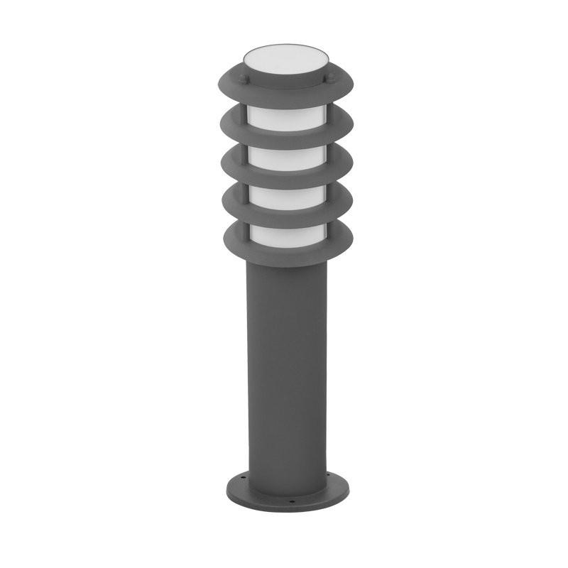 Lampy-ogrodowe-stojace - lampa ogrodowa serena szara tuba+rastry 45cm e27 polux firmy POLUX