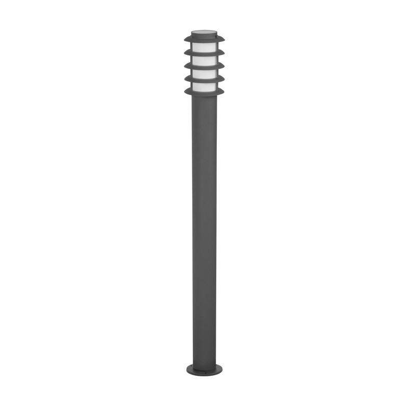 Lampy-ogrodowe-stojace - lampa ogrodowa szary słupek 100cm serena tuba+rastry wysoka e27 polux firmy POLUX