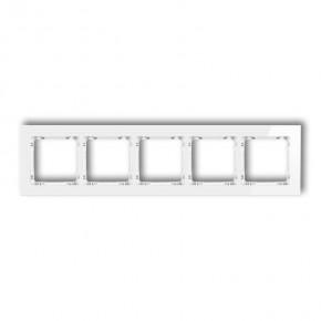 Ramki-pieciokrotne - ramka pięciokrotna uniwersalna biała szkło 0-0-drg-5 karlik deco