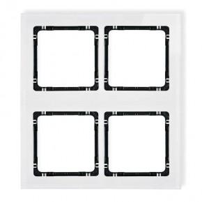 Ramki-poczworne - ramka modułowa poczwórna z efektem szkła w kolorze białym z czarnym spodem deco 0-12-drsm-2x2 karlik