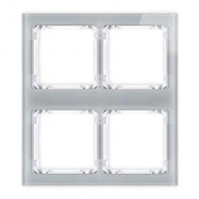 Ramki-poczworne - ramka poczwórna modułowa z efektem szkła szara z białym spodem deco 15-0-drsm-2x2 karlik