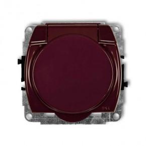 Gniazda-elektryczne - brązowe gniazdo elektryczne z klapką do łazienki trend 4gpb-1z karlik