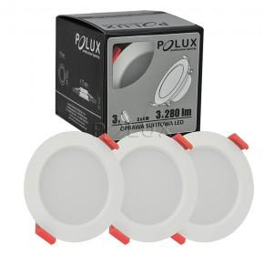 Oprawy-sufitowe - zestaw 3 opraw sufitowych oczko sufitowe białe ledx3 miro 4w polux