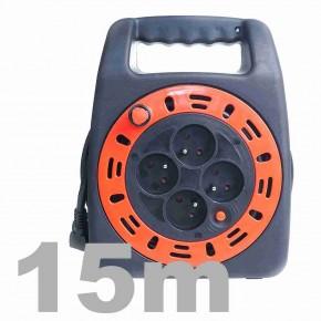 Przedluzacze-bebnowe - przedłużacz kasetowy z lampką led 15m ps/0030 rum-lux