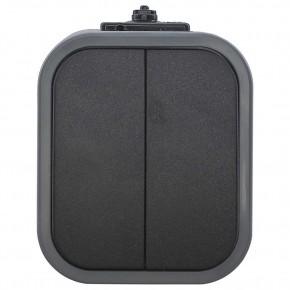 Wylaczniki-podwojne - włącznik podwójny natynkowy szary/czarny b2 wnt-2b2 9001570 abex