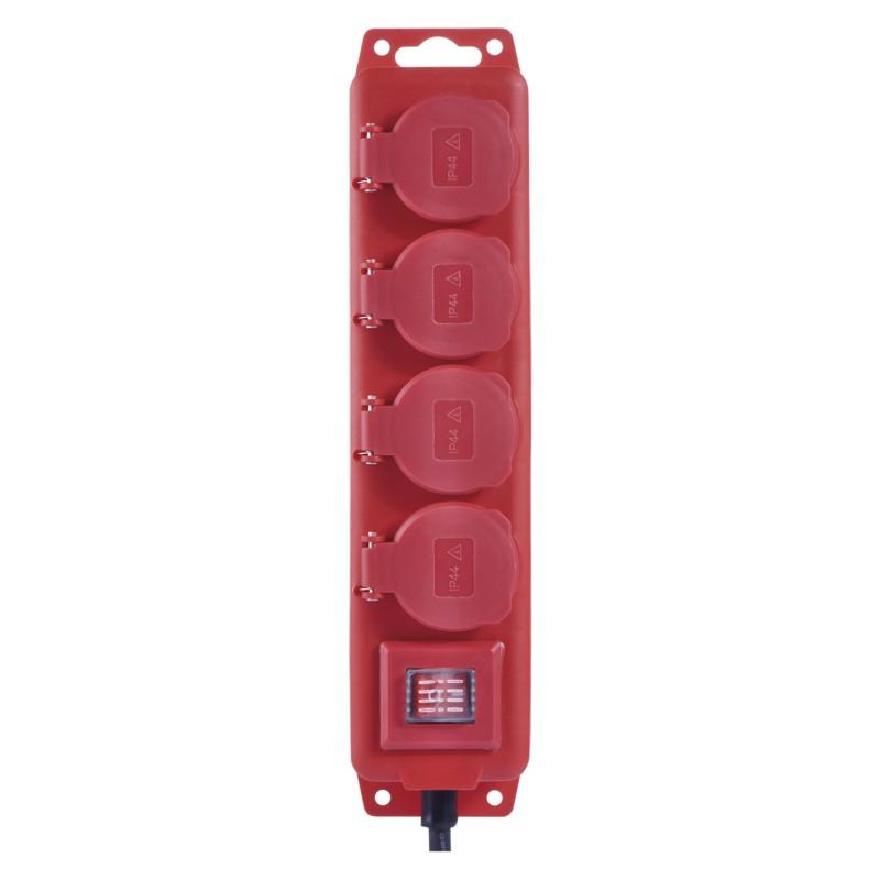 Przedluzacze-elektryczne - przedłużacz w gumie listwa 4 gniazda 3metry ip44 1,5 mm czerwony p14131 emos firmy EMOS