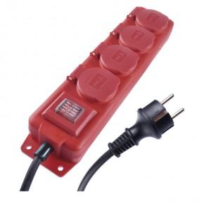 Przedluzacze-elektryczne - przedłużacz w gumie listwa 4 gniazda 3metry ip44 1,5 mm czerwony p14131 emos