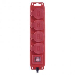 Przedluzacze-elektryczne - przedłużacz z wyłącz. 4 gn, 10m 1,5mm, ip44 guma, czerwony emos - 1902341000