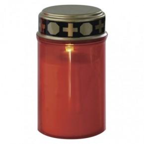 Latarenki-ogrodowe - świeczka cmentarna znicz led na baterie czerwony  z timerem ip44 dccv19 emos
