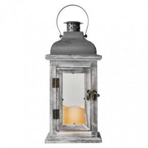 Strona-glowna - lampion z drewna ze świeczką led styl vintage szary zy2344 emos
