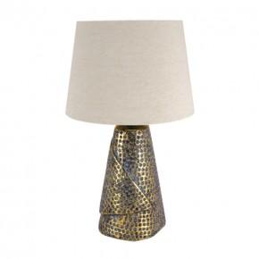 Lampki-nocne - lampka stołowa w kolorze złotym z beżowym kloszem magda 03963 ideus