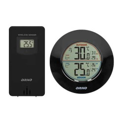 Termometry-i-stacje-pogodowe - bezprzewodowa stacja pogodowa z pomiarem temperatury zewnętrznej i wewnętrznej czarna or-sp-3100/b orno