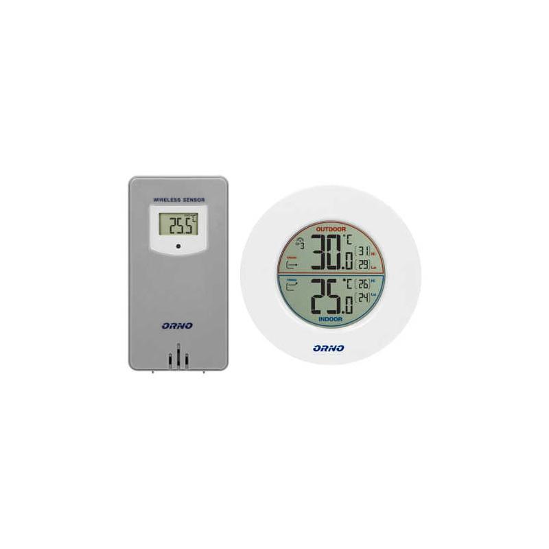Termometry-i-stacje-pogodowe - stacja pogodowa bezprzewodowa z pomiarem temperatury zewnętrznej i wewnętrznej biało-szara or-sp-3100/w-g orno firmy ORNO