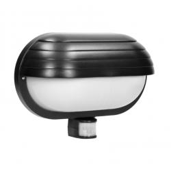 Kinkiety-ogrodowe - czarna lampa elewacyjna z czujnikiem ruchu e27 60w lf-1/b musam orno