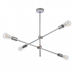 Lampy-sufitowe - srebrna lampa sufitowa na 4 żarówki e27 mora chrome 318107 polux