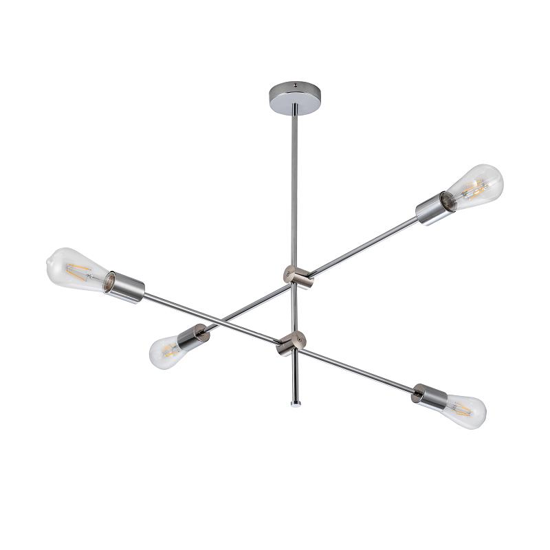 Lampy-sufitowe - srebrna lampa sufitowa na 4 żarówki e27 mora chrome 318107 polux firmy POLUX