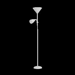 Lampy-stojace - podłogowa lampa biała 175 cm, max 25w e27 + max 25w e14 urlar orno