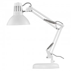 Lampki-biurkowe - lampka kreślarska biała zginana e27 46 cm dustin z7612w emos