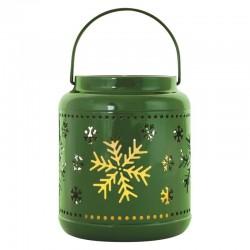Dekoracje-swiateczne-led - lampion metalowy ażurowy świąteczny zimowy zielony dclv12 emos